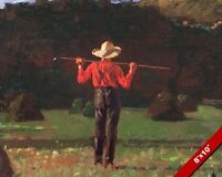 FARMER OUT STANDING IN HIS HAY FIELD OIL PAINTING ART GICLEE REAL CANVAS PRINT