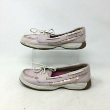Sperry Top Sider Boat Shoes Casual Slip On Lace Up Sequin Leather Pink Womens 7M