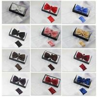 Mens Matching BOW TIE & POCKET SQUARE & CUFF LINKS SET Neck Hanky Black Wedding