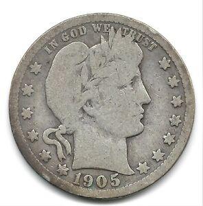 1905-S Barber Silver Quarter Dollar San Francisco Mint Nice Coin