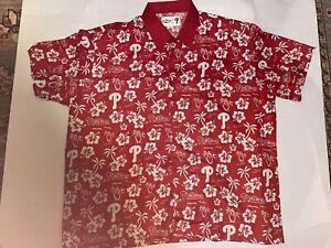 Philadelphia Phillies Red and White Chevy MLB Hawaiian Buttondown Shirt 2XL XXL