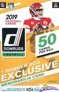 2019 Donruss Football Factory Sealed 50 CARD Hanger Box-EXCLUSIVE MEMORABILIA !