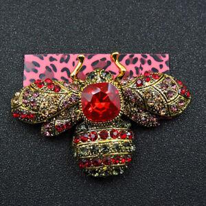 Red Rhinestone Bee Honeybee Crystal Betsey Johnson Charm Brooch Pin Gifts