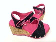 NEW! Skechers Youth Girl's BOHEMIAS LACE LOVELIES Black/Hot Pink #86960L 177J tz
