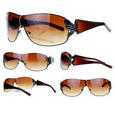 BUTTERFLY Shield Style Women's Fashion Sunglasses Gunmetal BROWN