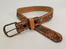 Kathy Tooled Leather Belt Flower Full Grain Girls Toddler 20 22 Brown Vtg Usa