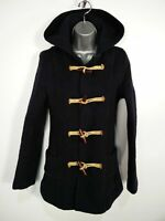 WOMENS GLOVERALL UK 6 ANNIVERSARY CHECK NAVY BLUE TOGGLES HOODED DUFFLE COAT