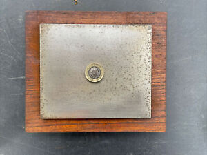 """Vintage 5 1/4 x 4""""1/2 Surface plate in fitted wooden box old tool"""
