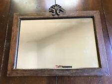 "Antique Mirror with Carved Wood Frame 21""x 15"" HEAVY Beveled Glass Wall Mirror"