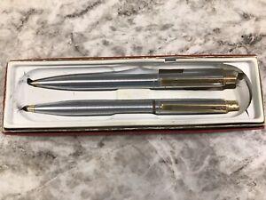 Vintage Sheaffer Silver Chrome Gold Pen & Mechanical Pencil Set