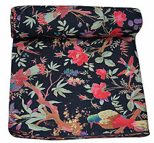 5 Yard Indian Black Bird Print Hand Block Print Cotton Fabric Dressmaking Sewing