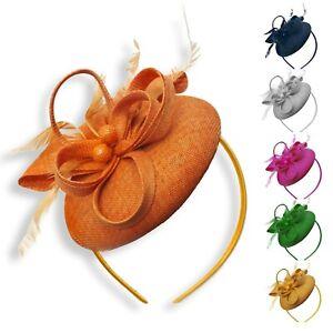 Round Pillbox Bow Sinamay Headband Fascinator Weddings Ascot Hatinator Races