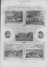 1900 Antique Print - CHINA Crisis Village Fort Emperor Dowager Empress (199)