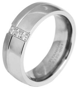 Akzent Damenring Titan Ring Damen Modisch silber drei Steine Schlicht