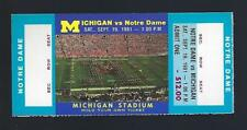1981 NCAA NOTRE DAME IRISH @ MICHIGAN WOLVERINES FULL UNUSED FOOTBALL TICKET
