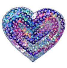 "Valentine Heart Love Iron On Patch 2/"" HEART SILVER SEQUIN"