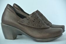 NAOT Leather Womens Sz 38 / 7 Bronze Cutout Heel Wedge Mule Clogs Israel