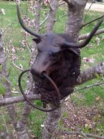 Large Cast Iron Bull Head Mount  W/Ring Hitching Post Barn  Steer  Lodge Decor