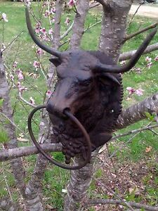Large Cast Iron Bull Head Mount  W/Ring Hitching Post Barn  Steer  Lodge Decor