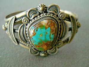 ELLA LINKIN Native American Pilot Mountain Turquoise Sterling Silver Bracelet
