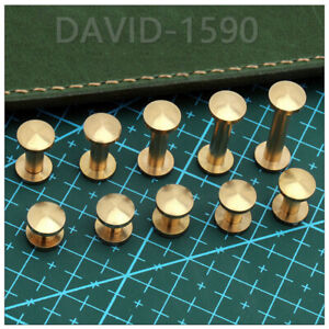 Belt Screws Leather Craft Chicago Nail Brass Solid Rivets Stud Head for Wallet