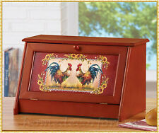 Wooden Country Rooster Bread Storage Bin Box Farmhouse Kitchen Pantry Home Decor