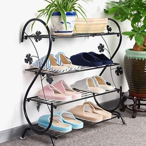 New 4 Tier Detached Metal Shoe Rack Stand Storage Shelf Organiser Home Decor