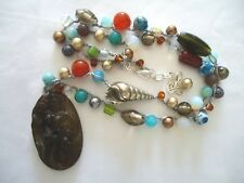 R53 Collar Sirena Beautiful Carved Old Jade Oval Hecho a mano Handmade Jewelry