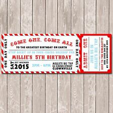 Circus Carnival Personalised Ticket Style Birthday Invitation