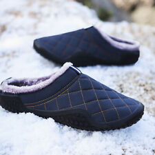Waterproof Fur Lined Men's Warm Slippers Indoor Outdoor Slip On Flat House Shoes