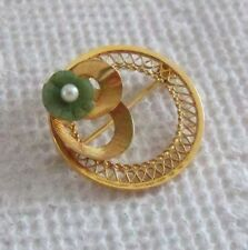 Vintage 14k solid Gold circle Brooch with carved Jade & Pearl Flower