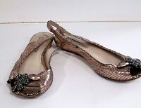 VERA WANG METALLIC CHAMPAGNE  SNAKE SKIN JEWELED PEEP TOE SLINGBACKS 7.5