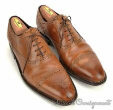 SUTOR MANTELLASSI Solid Brown Leather Mens Captoe Oxford Dress Shoes - 9