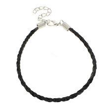 10pc Black color Trendy Braided Imitation Leather Bracelet Making-F25