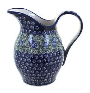Blue Rose Polish Pottery Seaside Swirl Pitcher