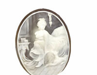Very Large Vintage Art Deco Carved Shell Cameo LADY & DOG