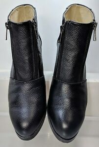 Chaos & Harmony Black Pebbled Leather Intent Boots Double Zipper Women US 8