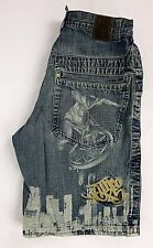 JNCO Jeans Mens Shorts Loose/Baggy Denim BMX City Print Size 33 Actual 30""