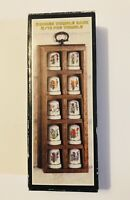 Vintage Wooden Display Rack For Thimbles With With 10 Piece Thimble Set Flowers