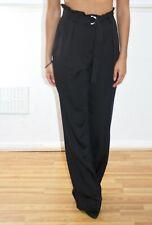 BOOHOO Black High Waisted Satin Trousers Uk 10