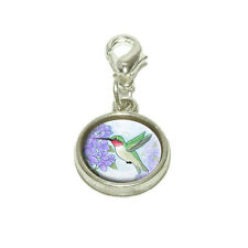 Hummingbird with Hydrangeas Dangling Bracelet Pendant Charm