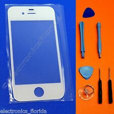 White Front Outer Screen Glass Lens Replacement For iPhone 4 generation -b283