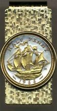 "Gold on Silver Coin Hinged Money Clip British Half Penny ""Sailing Ship"" 24 k"