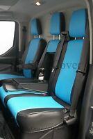 VW CRAFTER VAN SEAT COVERS MADE TO MEASURE BLUE + BLACK LEATHERETTE