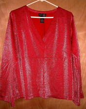 """Venezia Red Sparkly Top Size 18/20 Fits up to a 50""""Bust Ships Free in the USA"""