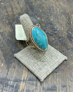 Barse Boulder Turquoise Ring- Bronze-8-NWT