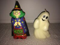 Lot of 2 Vintage Wax Halloween Candles - Ghost & Trick or Treat Witch - Unused