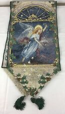 """Lena Liu Angel of Wishes Tapestry Table Runner w Silver Thread 70"""" + Tassels"""