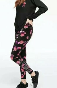NWT Victoria Secret PINK Small Mega Floral Silver Bling Leggings. Last Pair!