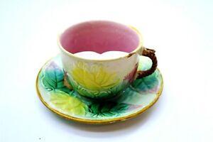 Antique Majolica Shaving Mug Cup with Saucer ~ Multi Leaf Pattern